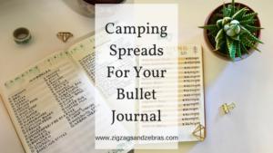 camping spread ideas bullet journal, bullet journal camping, packing list, bullet journal travel, travel journal