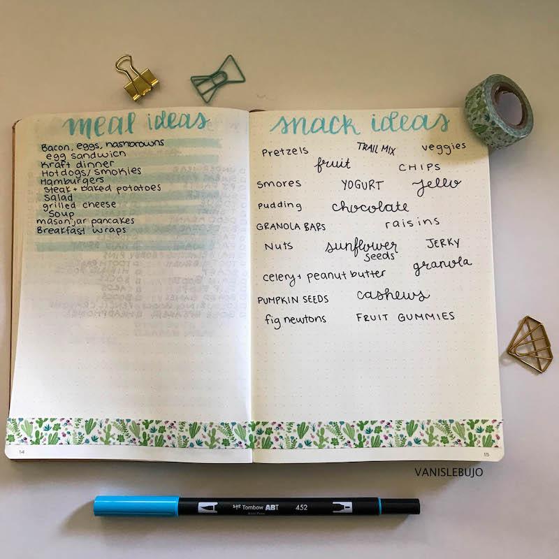 bullet journal, bullet journal meal plan, camping meal plan, snack ideas, camping ideas, collection