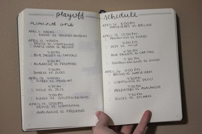 playoff schedule, bullet journal tracker, collection idea, hockey tracker, sport tracker