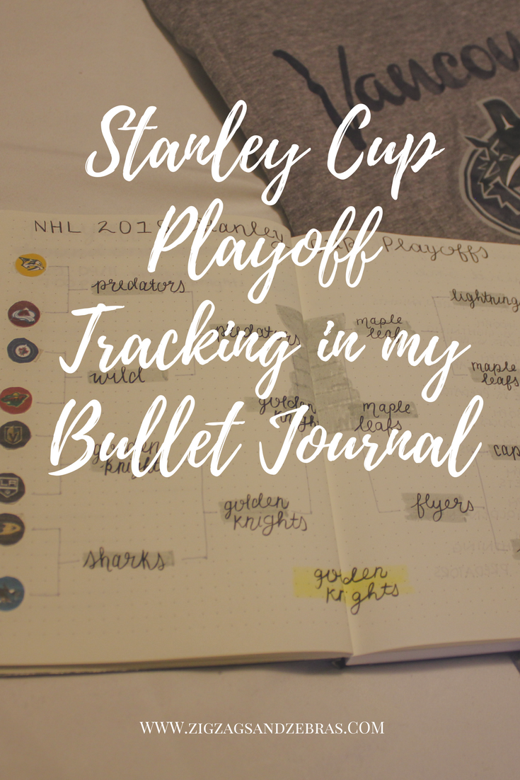 stanley cup playoff tracker, bullet journal, journal tracker, collection