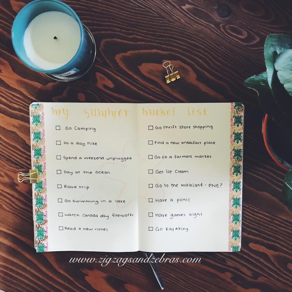 Bullet Journal Summer Bucket List - Bucket List - Summer Ideas - Bullet Journal Collection