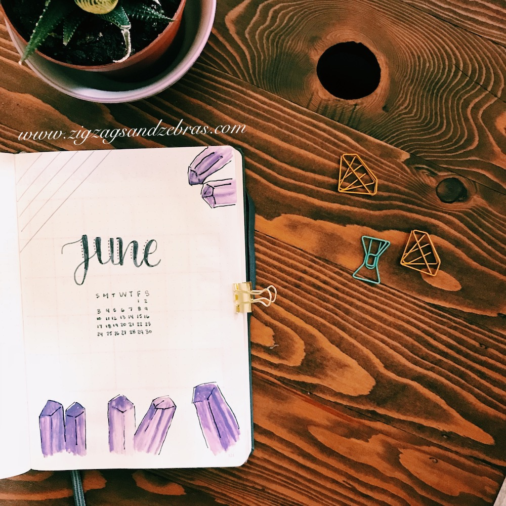 bullet journal monthly setup, monthly layout, June, plan with me