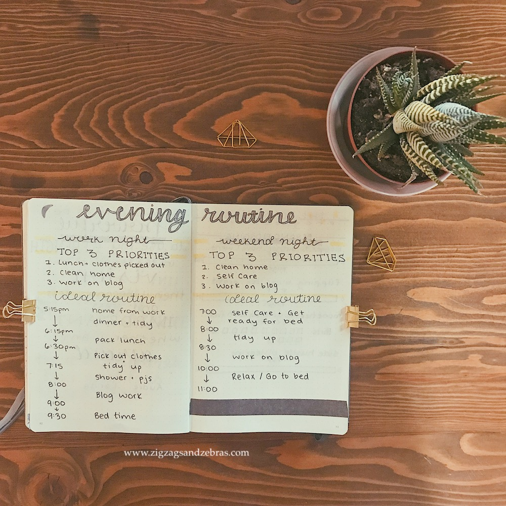 Evening Routine In My Bullet Journal - Evening Routine - Routine - Planning - Bullet Journal - Productivity - Planning