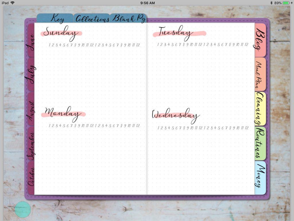Digital Planner Setup, Monthly Setup, Weekly Setup, Digital Bullet Journal