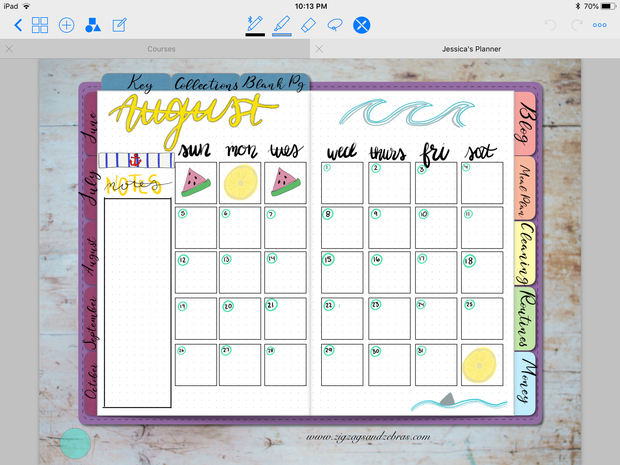DIGITAL PLANNER SETUP | august digital planner layouts, digital bullet journal, monthly layout, monthly spread, editorial calendar, time blocking, time management