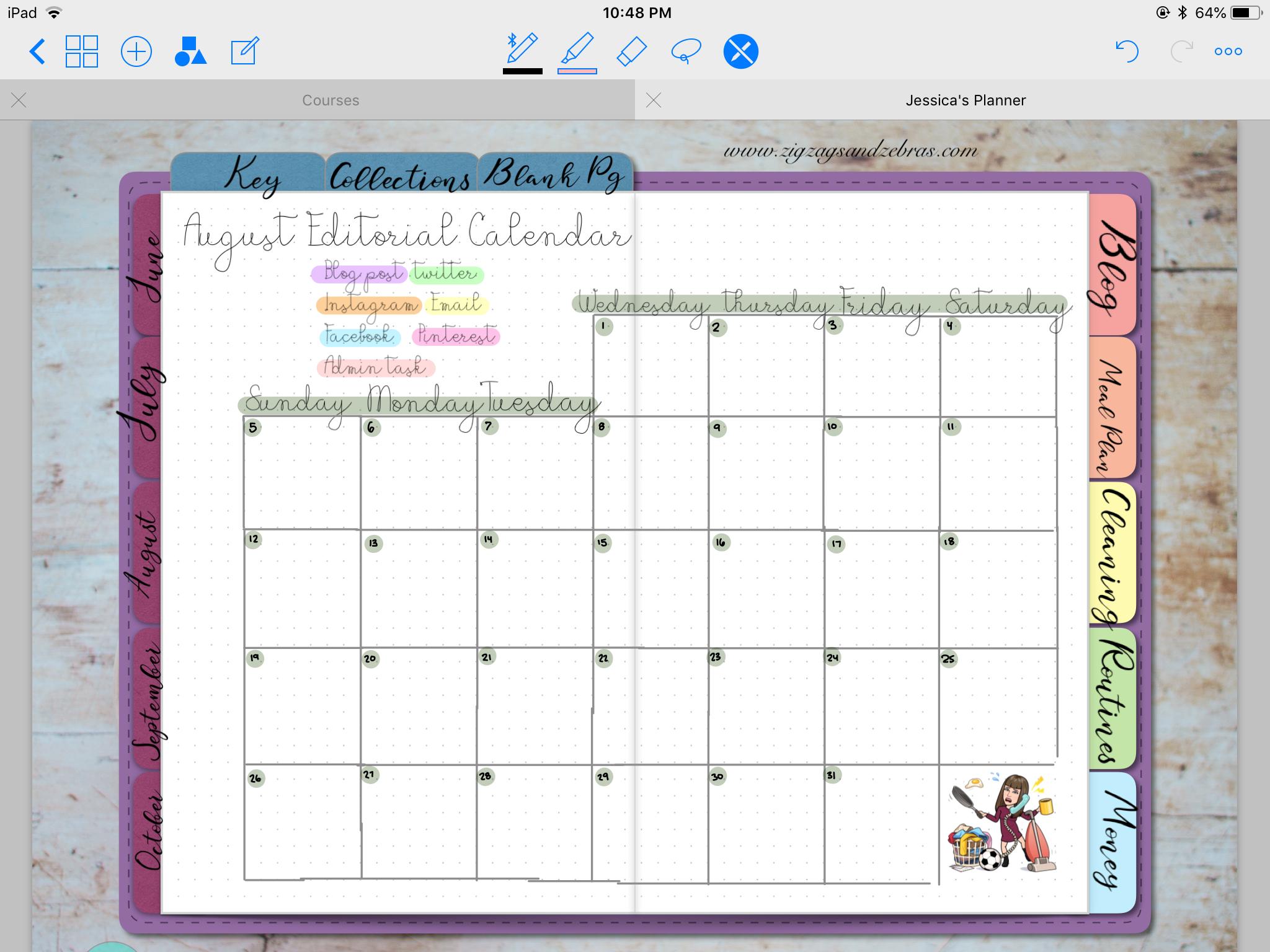 DIGITAL PLANNER SETUP | august digital planner layouts, digital bullet journal, monthly layout, monthly spread, editorial calendar, time blocking, time management