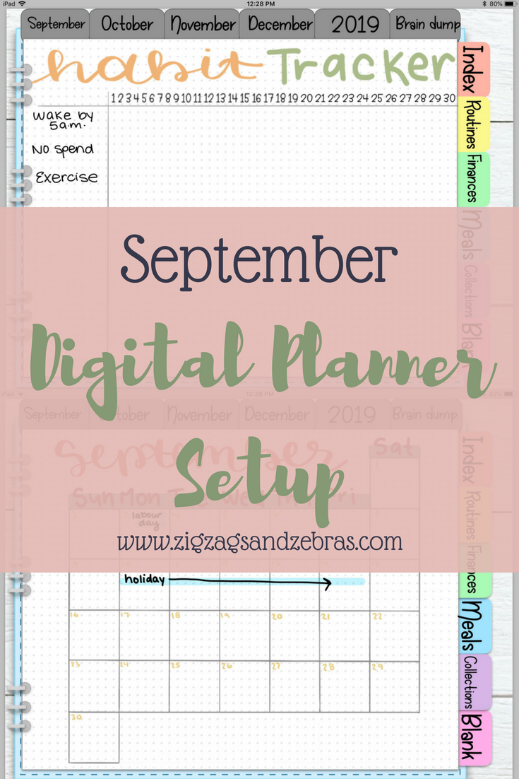 SEPTEMBER DIGITAL PLANNER SETUP | Digital Bullet Journal, Habit Tracker, iPad Planning, Goodnotes, Digital Layouts