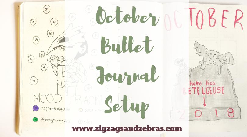 | OCTOBER BULLET JOURNAL | Beetlejuice inspired bullet journal, October bujo, bullet journal monthly, monthly layout