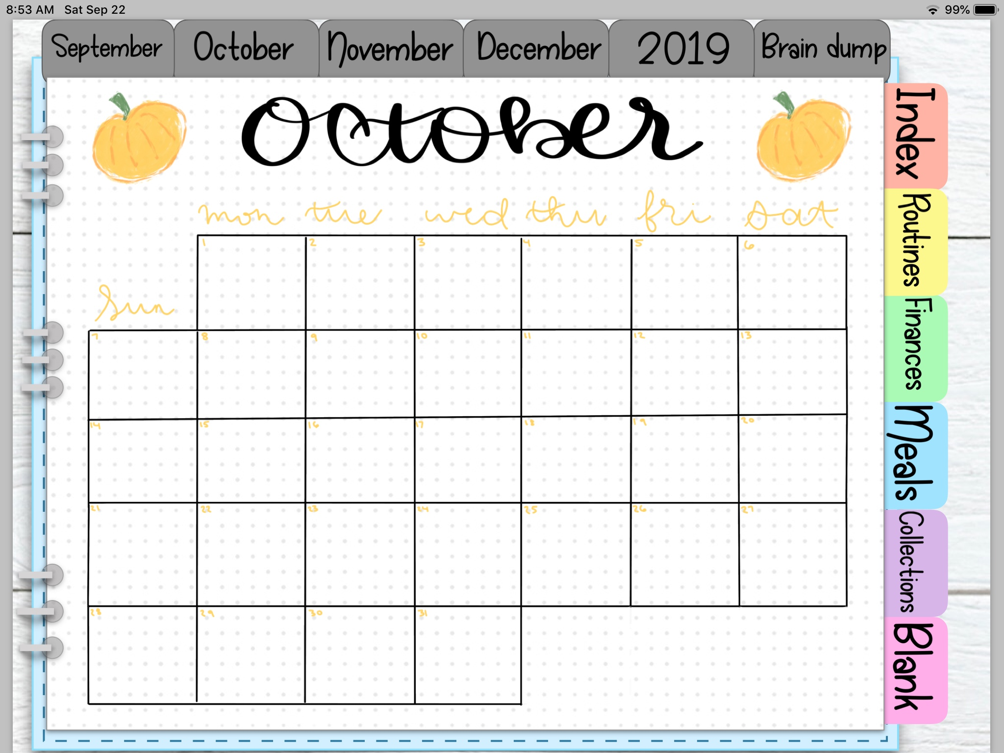 | OCTOBER DIGITAL PLANNER SETUP | Digital Planning, Procreate, Goodnotes Digital Planner, Digital Planning Stickers, Free Digital Planning Stickers