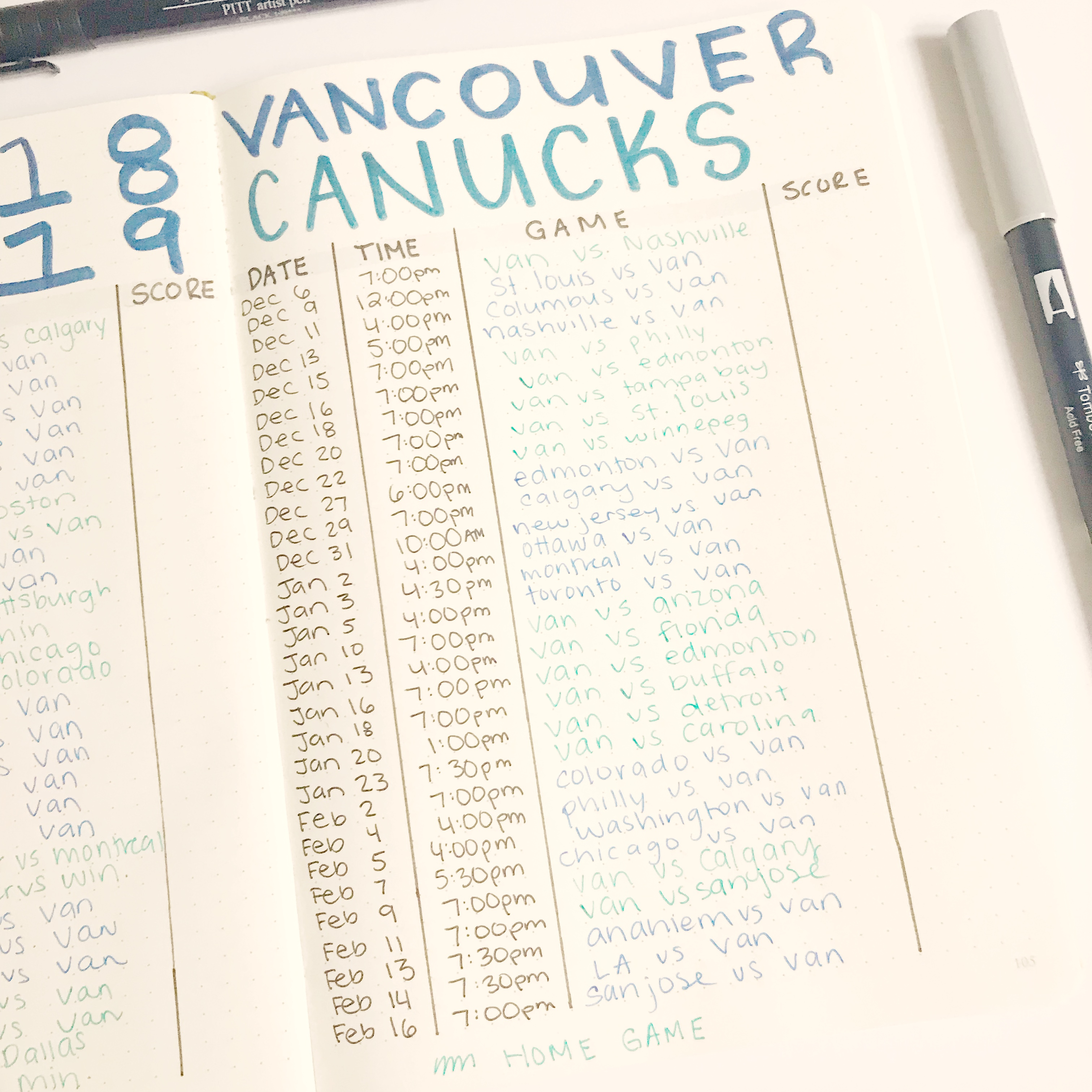 | BULLET JOURNAL HOCKEY COLLECTION | NHL Bullet Journal, Hockey Playoffs, Sports Bullet Journal, Bullet Journal Collection Idea
