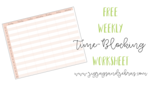 FREE WEEKLY TIME BLOCKING WORKSHEET. Increase your productivity with time-blocking! Schedule your to-do list. #timeblocking #timemanagement #productivity