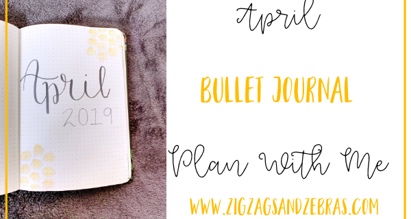 April Bullet Journal Setup. Plan with Me! April bullet journal cover page, April calendar spread, expense tracker, budget tracker, running to do list. #bulletjournal #planwithme