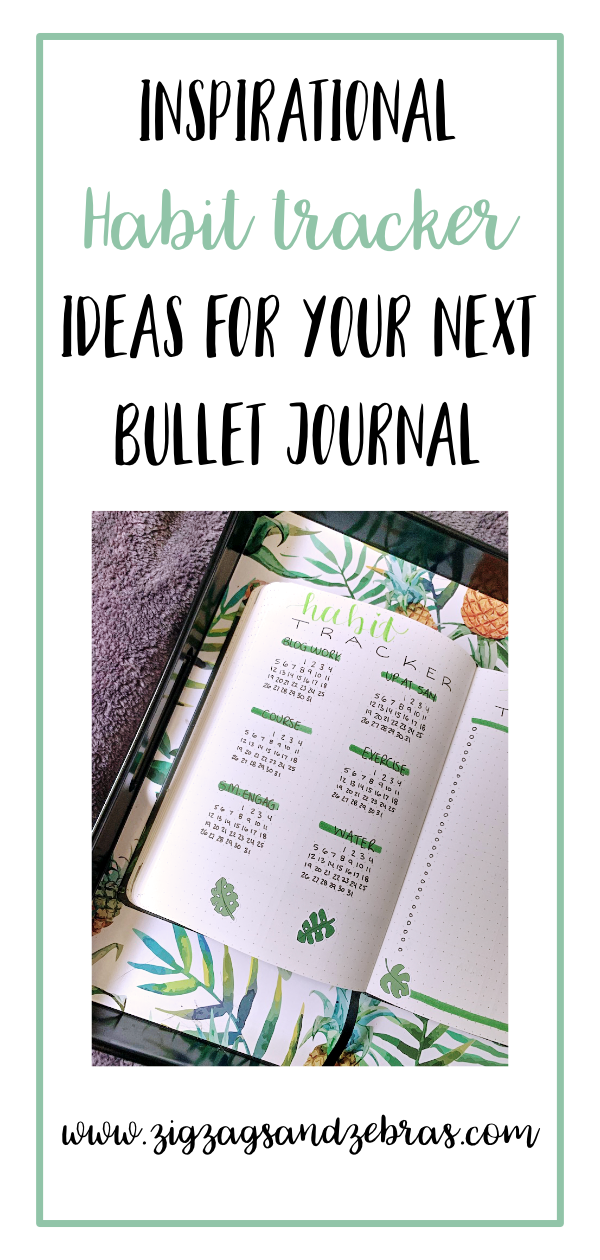 Inspirational Habit Tracker Ideas for your Next Bullet Journal Spread. Habit Tracker Ideas, Bullet Journal Inspiration. Why you should have a habit tracker in your bullet journal. #habittracker #bulletjournal