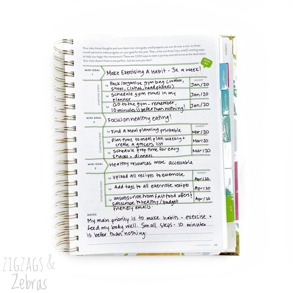 Powersheets Goal Planner: Prep Work, First Thoughts, Goal Setting, 2020 Goals, SMART Goal setting